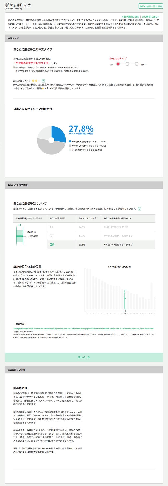 マイコード 体質の詳細説明画面
