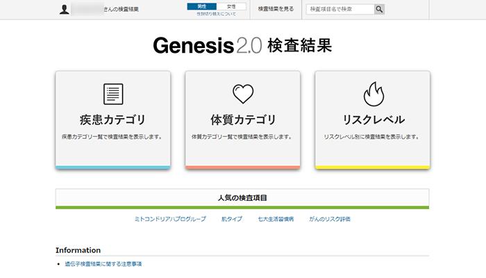 ジーンライフ ジェネシス2.0の検査結果